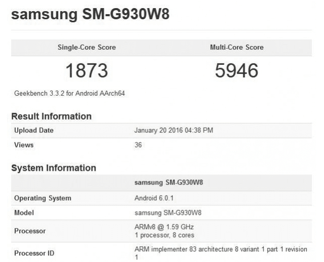 Galaxy S7 Geekbench spec leaked