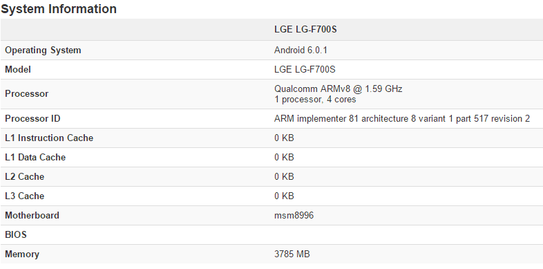LG G5 specs from Geekbench