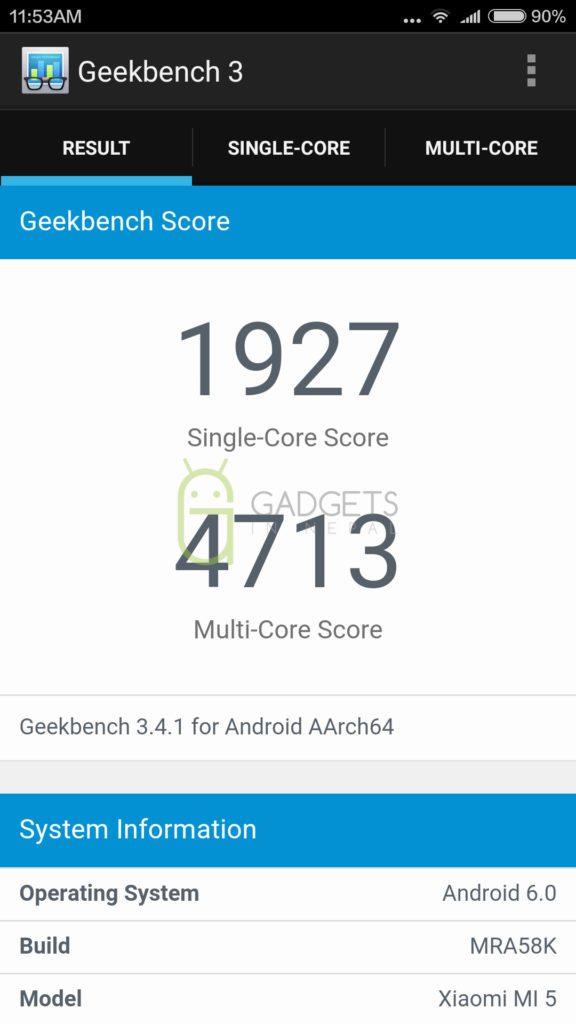 Geekbench score of Mi 5