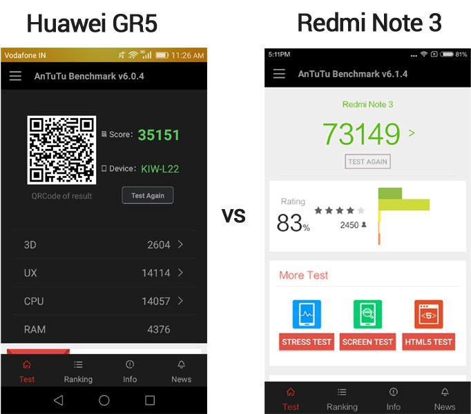 Redmi Note 3 vs Huawei GR5 (Antutu)