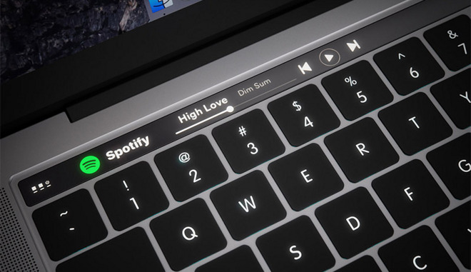 Touch bar on MacBook Pro