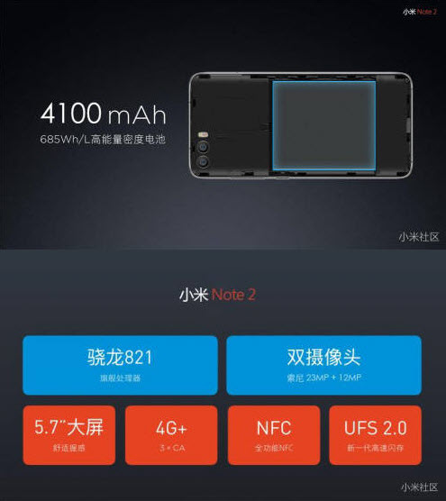 MI Note 2 CPU and battery specs