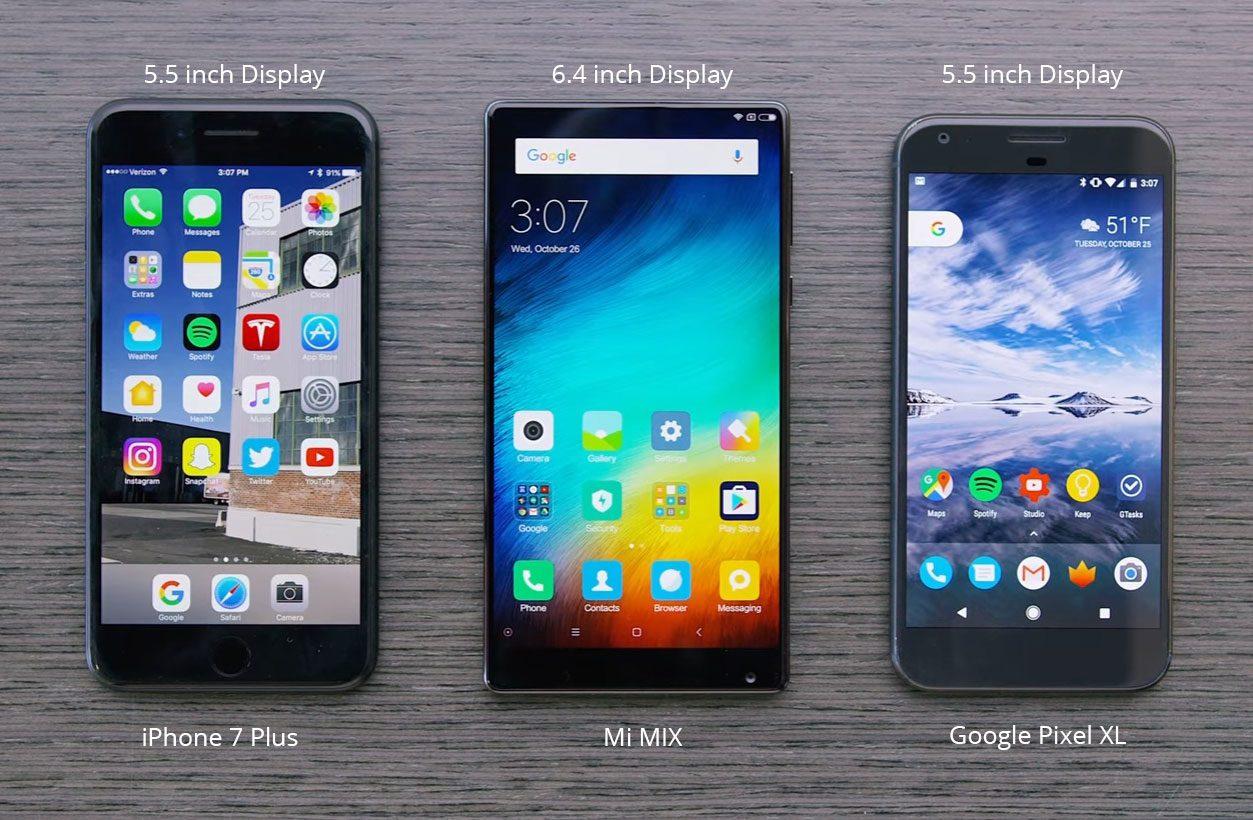 iPhone 7 Plus vs Mi MIX vs Google Pixel XL