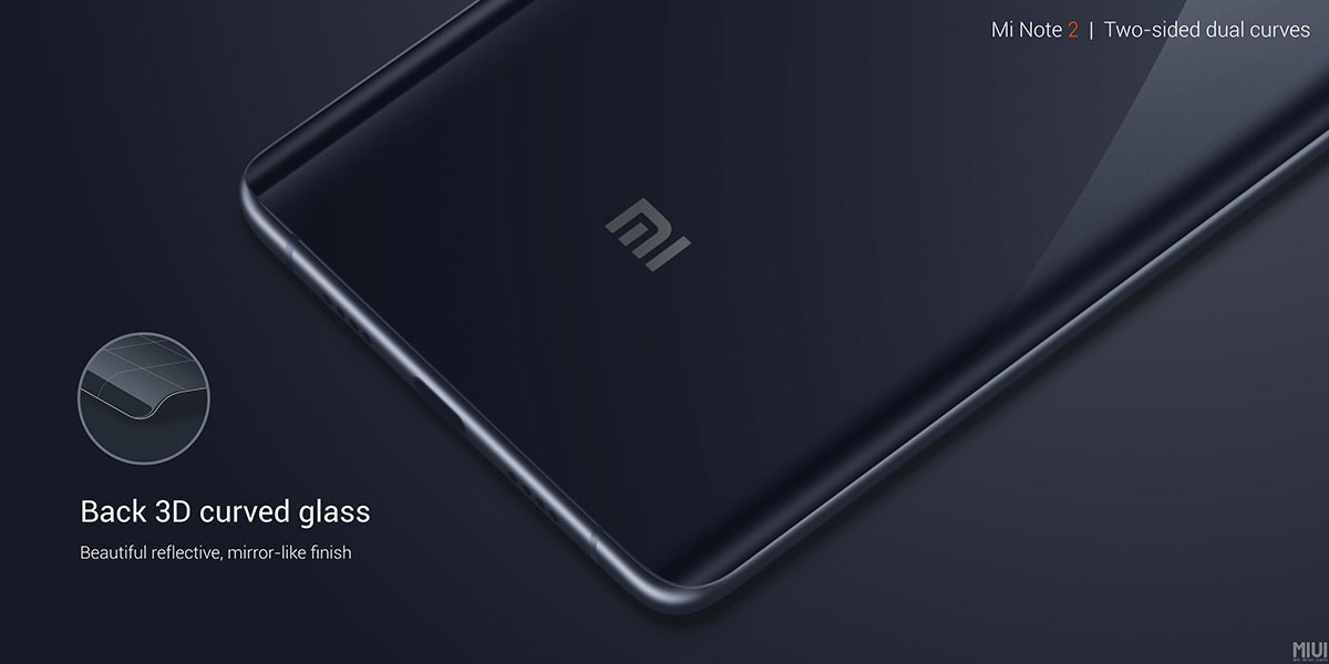 Mi Note 2 3D curved glass on the back
