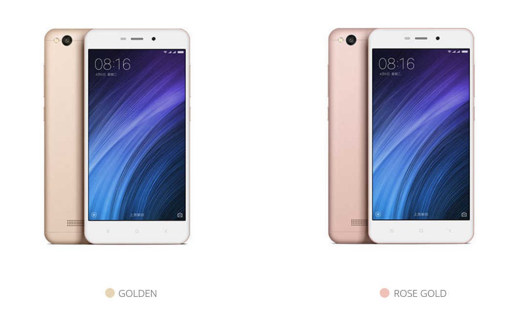 Redmi 4A in Gold and Rose Gold