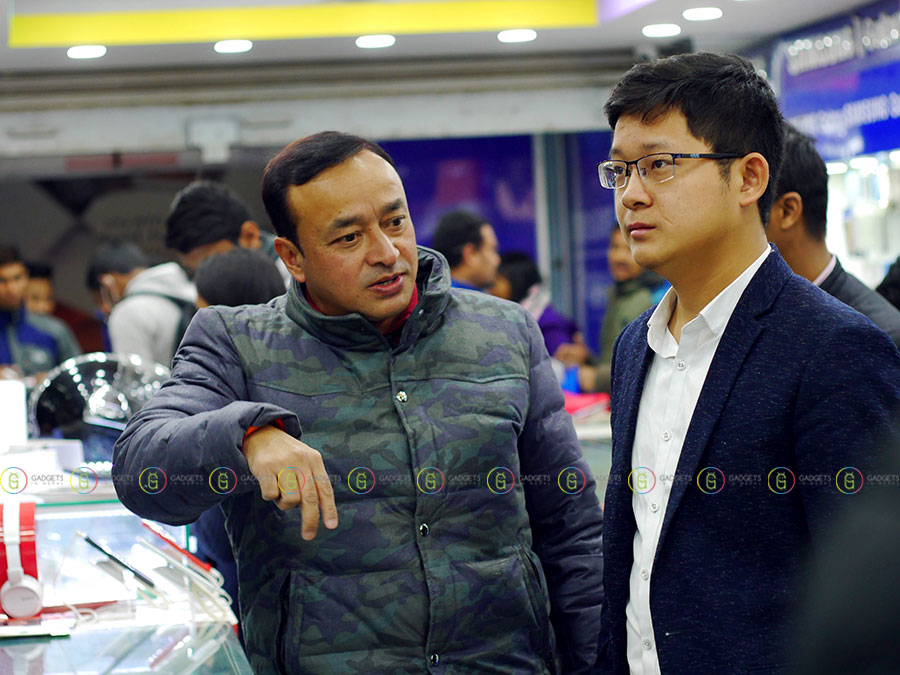 Mr. Shen (Coolpad Country Manager Nepal) with one of the retail shop ower