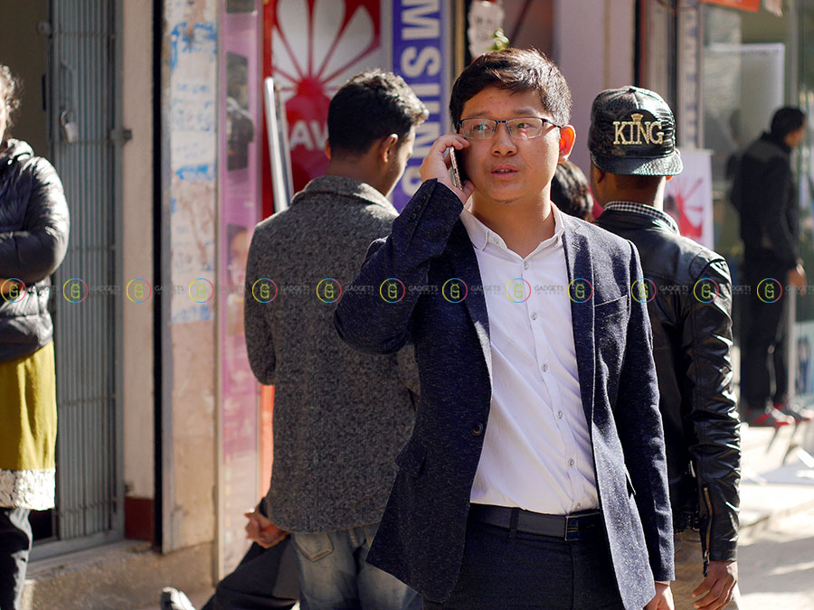 Mr. Shen (Coolpad Country Manager Nepal) during Newroad Mobile Market visit