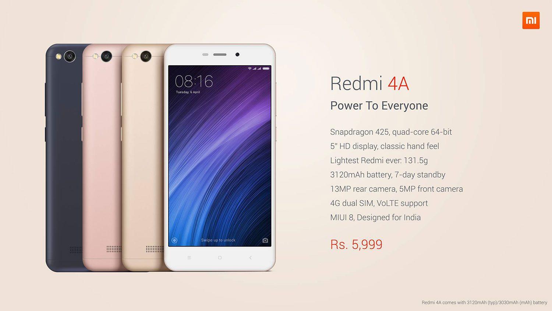 Redmi 4A price in India