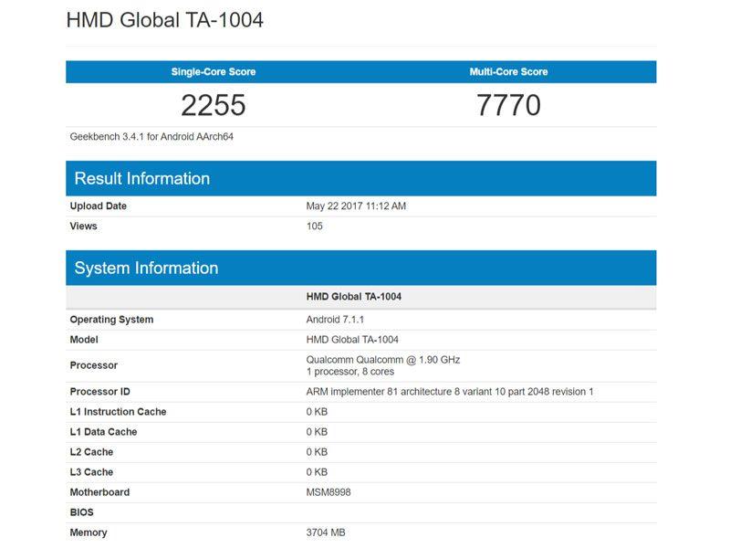 GeekBench 3 scores of Nokia 9