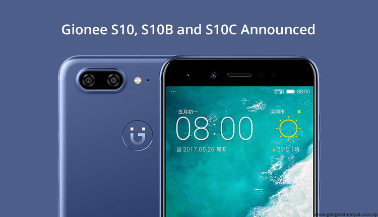 Gionee S10, S10B and S10C Price In Nepal