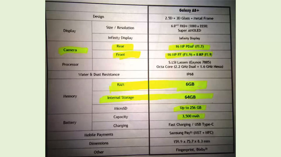Samsung Galaxy A8+ Leaked Specs