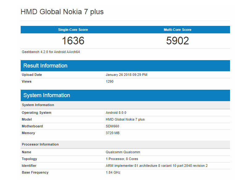 Nokia 7 Plus spotted in GeekBench