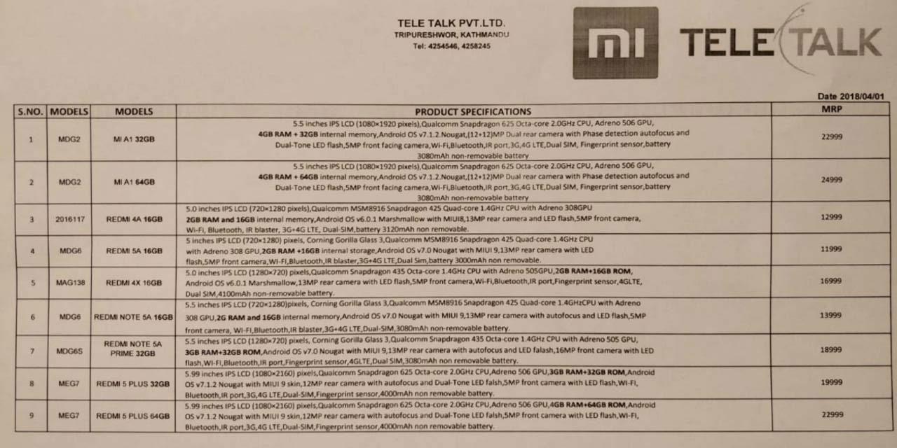 Xiaomi Mobile Price List From Tele Talk Pvt Ltd