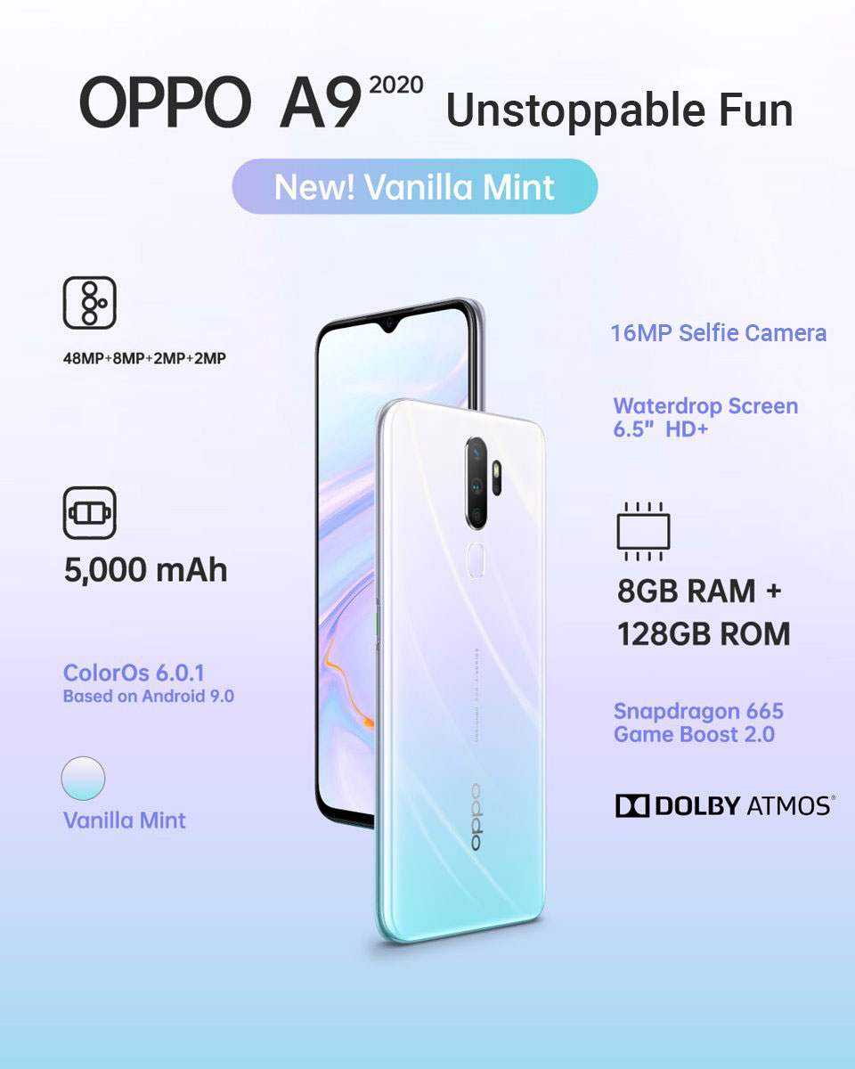 Oppo A9 2020 Vanilla Mint color Price In Nepal