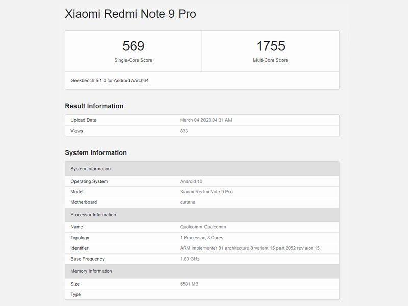 Redmi Note 9 Pro GeekBench Score
