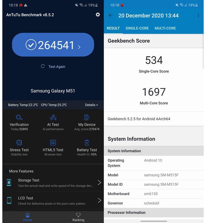 Samsung Galaxy M51 review benchmark