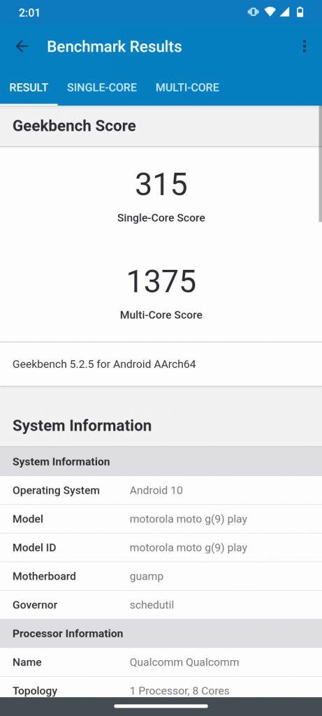 Moto g9 play benchmark